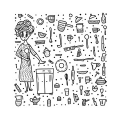 Set of vector kitchen equipments in doodle style.