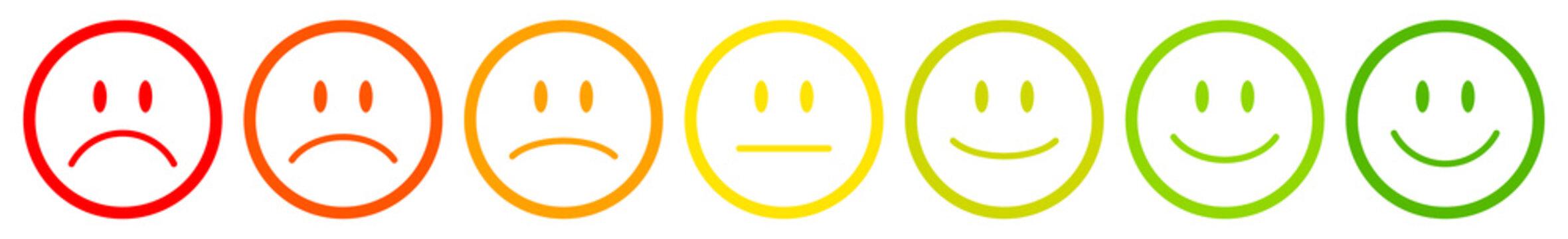 7 Color Faces Outline Feedback/Mood