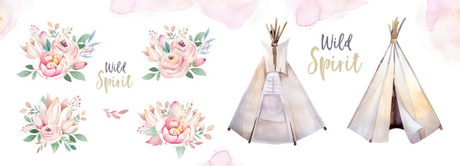 Watercolor colorful ethnic set of teepee and flowers bouquets in native American style.Tribal Navajo isolated wigwam illustration ornament on white background.