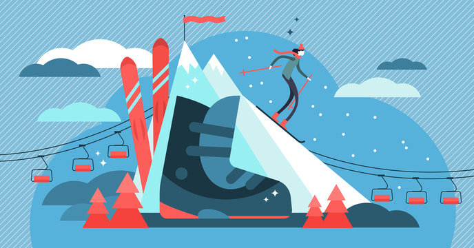 Skiing vector illustration. Flat mini sport person concept with equipment.