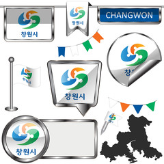 Glossy icons with flag of Changwon, South Korea