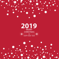 Happy new year 2019 background with snow, vector illustration.