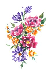 Decorative bouquet with orange and pink flowers. Watercolor background. Interior Design.
