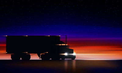 Truck moves on highway in the night. Classic big rig semi truck with headlights and dry van in the dark on the night road on colorful starry sky background, vector illustration