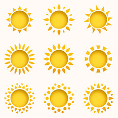 Sun icon set. Summer sky elements. Sun silhouettes collection. Isolated sun symbol. Cute cartoon sun icons with shadow, stroke and 3d effect. Paper and craft style. Vector Illustration.