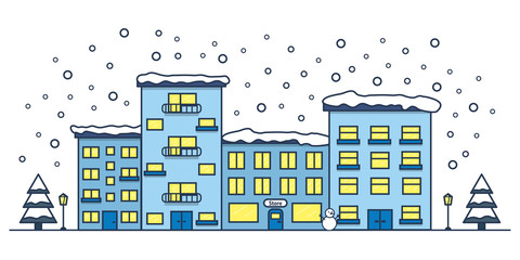 Winter street with houses and shop. Christmas city. Line art. Vector illustration.