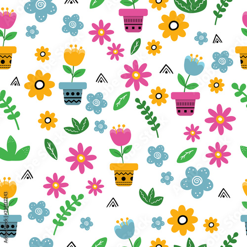 Cute Hand Drawn Flowers Plants And Pots Abstract Elements