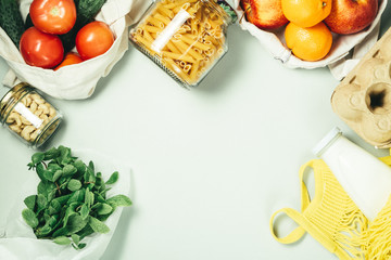 Zero waste concept, sustanable lifestyle - glass and paper reusable packaging for grocery shopping