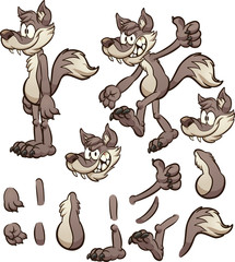 Cartoon wolf or coyote character with different body pats. Vector clip art illustration with simple gradients. Some elements on separate layers.