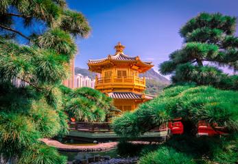 The Golden pavilion and gold bridge in Nan Lian Garden near Chi Lin Nunnery, famous landmark in Hong Kong. Wall mural