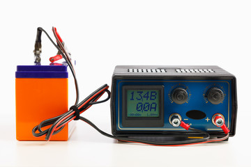 car auto battery charger, isolated on white