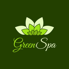Vector Green Spa leaf flower logo design template