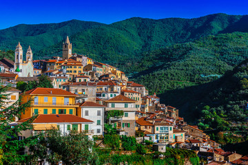 View of Ceriana in the Province of Imperia, Liguria, Italy Fototapete