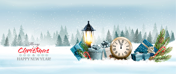 Fotobehang Lichtblauw Holiday Christmas panorama with a winter landscape and gift boxes with clock. Vector.