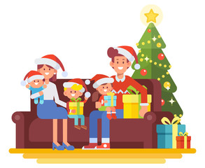 Merry Christmas and Happy New Year. Happy family together. Mom, dad and kids sitting on the couch at home. People in Santa hat, New Year tree. Cartoon style vector illustration