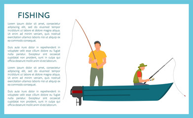 Fisherman with Fishing Rod in Boat Vector Icon