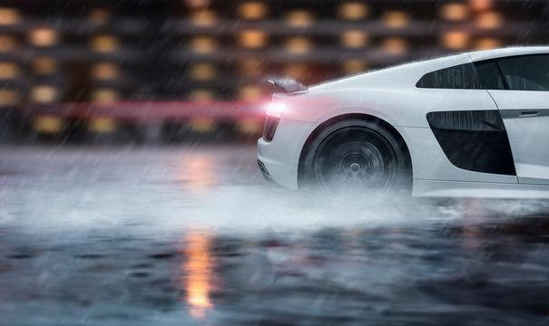 Sportwagen rast über nasse Straße