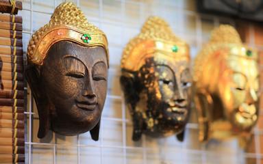 Wooden buddha statue,  gautama buddha, Carved wooden Buddha face