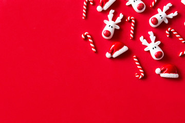 Christmas ornament pattern on red background. Flat lay top-down composition. Copyspace