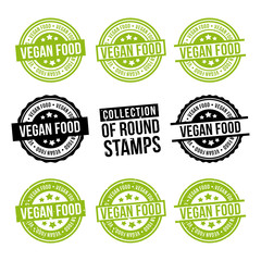 Wall Mural - Vegan Food round stamp collection. Badges set. Eps10 vector.