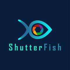 Vector Shutter Fish Photography logo design template.