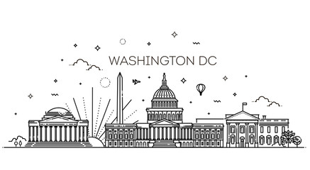 Washington USA skyline and landmarks silhouette
