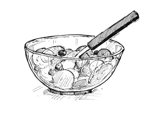 Black pen and ink artistic rough hand drawing of small bowl with fruit pieces mixture and spoon.