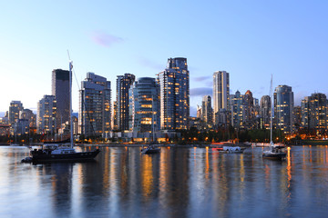 Sunset view of the Vancouver cityscape