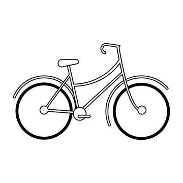 Vintage bike cartoon black and white