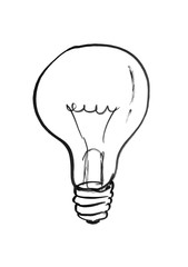 Black brush and ink artistic rough hand drawing illustration of light bulb.