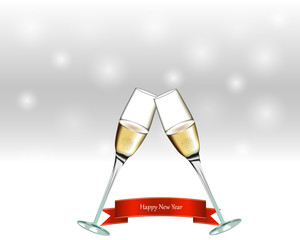 Two glasses with champagne on gray background. New Year sign.