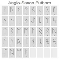 Set of monochrome icons with Runic alphabet for your design