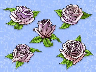 Graphic detailed cartoon pink rose flower bud with green leaves. On blue background. Vector icon set.