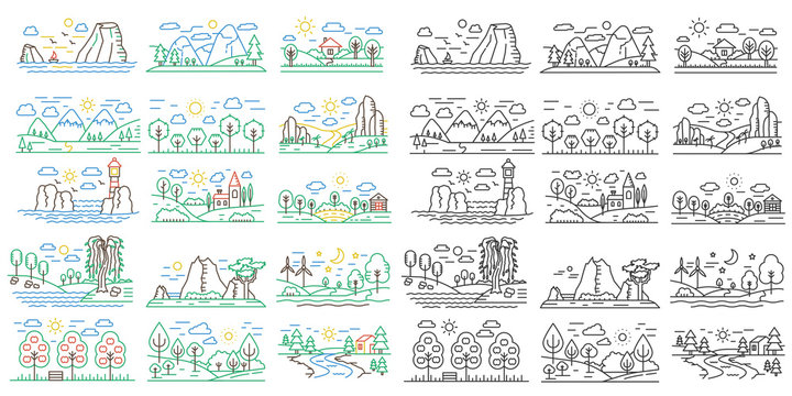 Nature line icon mini landscapes with mountains, fields and rivers. Outline color and black vector nature concept illustrations.
