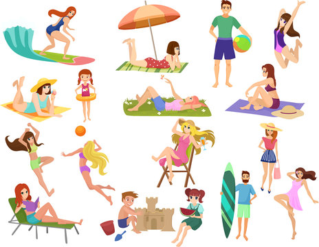 Summer beach cartoon anime vector people outdoor activities. Man, woman and kids sunbathing, playing,walking, carrying surfboard, talking, relaxing isolated.
