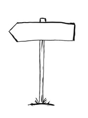 Black brush and ink artistic rough hand drawing of arrow decision sign post. Text can be added.