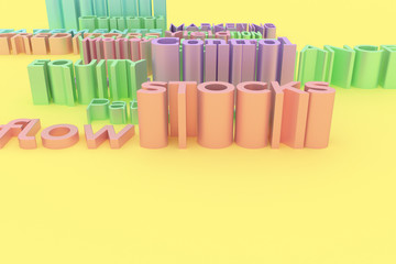 Abstract CGI typography, finance related keywords. Wallpaper for graphic design. Colorful 3D rendering.