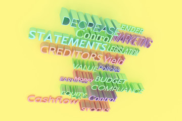 Decorative, illustrations CGI typography, finance related keywords, for design texture background. Colorful 3D rendering.
