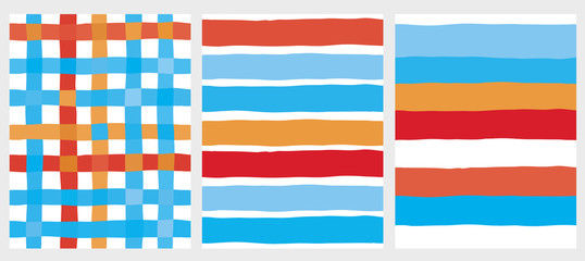 Set of 3 Cute Stripes and Grid Vector Patterns. Irregular Infantile Design. White Background. Blue, Orange and Red Lines.