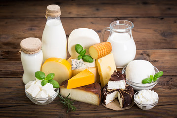 Printed roller blinds Dairy products Various types of cheese and dairy product on the wooden table