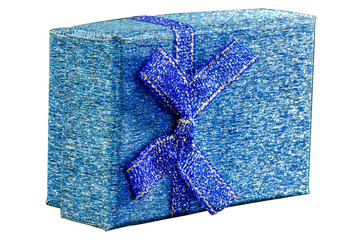 Gift Box  blue color on White background,Clipping path.