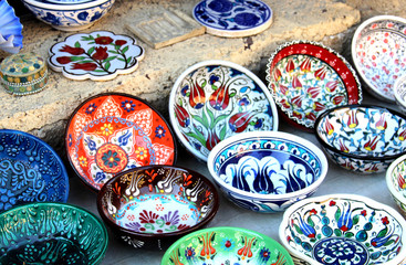 Traditional Turkish plates on the market