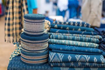 Indigo blue scarfes for the at the market,Thai Blue Indigo dyed cloth