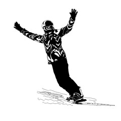 The girl the snowboarder, the drawing
