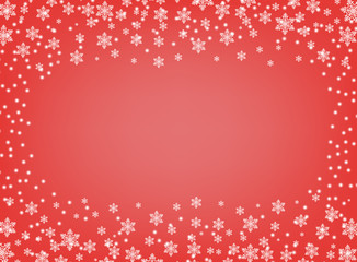 Frame vector Christmas and New year. Red isolated background with white snowflakes with space for text. Greeting card, banner.