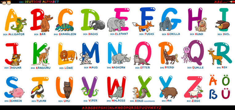 german alphabet with cartoon animals set