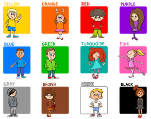 colors educational set with kid characters