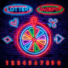 Lottery is a neon sign. Neon logo, emblem gambling, bright banner, neon casino advertising for your projects. Night light billboard, design element. Vector illustration