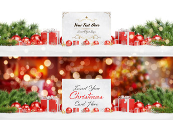 Christmas Card in Snow with Ornaments Mockup