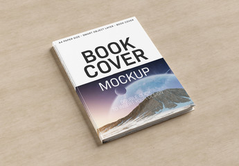 Book Cover on Wooden Surface Mockup